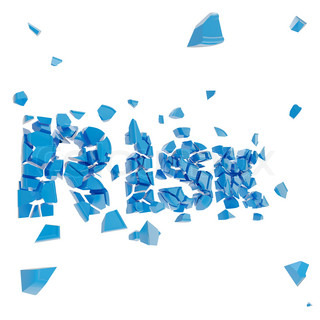 Broken risk, word chashed into blue pieces
