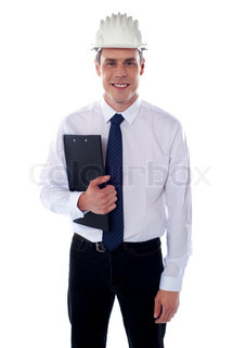 Young architect holding clipboard