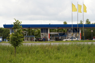 Landscape with the image of gas-station