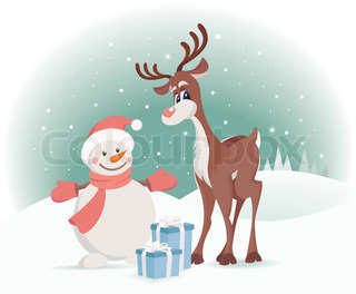 Rudolph reindeer with snowman