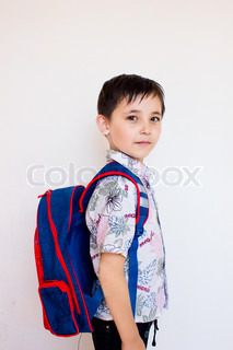 a boy with a backpack