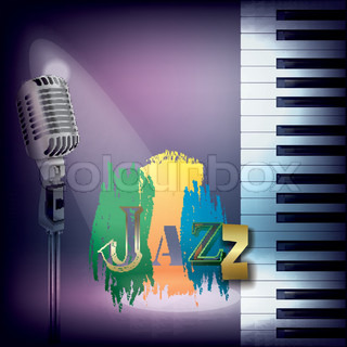abstract music background with retro microphone and piano