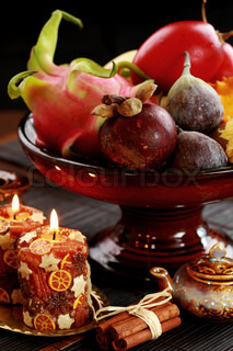 Still life with exotic fruits