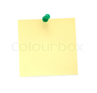 Yellow Paper Note with Green Pushpin