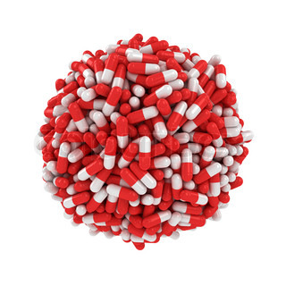 Big sphere made from many red-white capsules