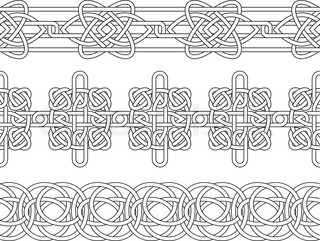 Celtic border pattern seamless stencil set