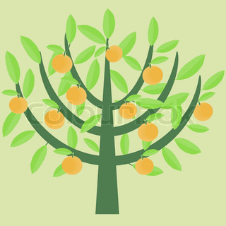 Orange decorative abstract tree with ripe fruits