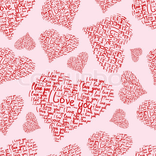Heart seamless vector background made of hand written words