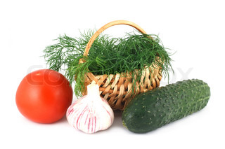 Fresh vegetables and dill in a basket