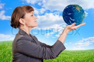 woman holding a earth