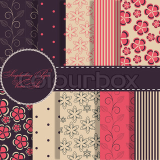 set of beaautiful vector red and blue paper for scrapbook