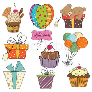 birthday items collection on white background