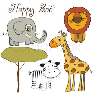 vector illustration of cute wild animal set including giraffe, zebra, lion and elephant