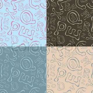 Letter seamless vector pattern, vintage, set of four
