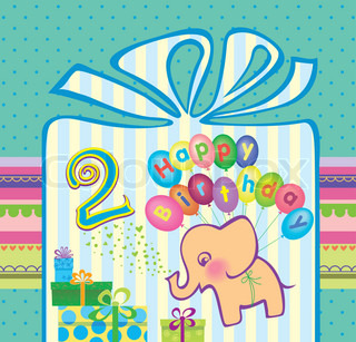 Congratulations for a boy with a 2 year anniversary. Elephant flying hot air balloons