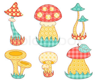 Isolated mushroom patchwork set