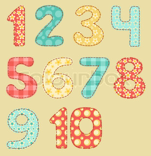 Vintage numbers set Patchwork series Vector illustration
