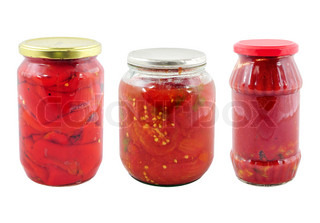Jars with different preserved vegetables