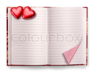 Open Valentine pink blank diary isolated on white background