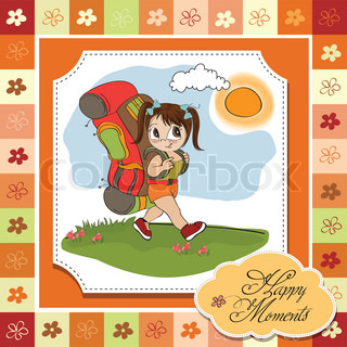 Traveling tourist girl with backpack