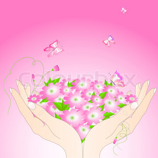 Tender female hands with flowers and butterflies