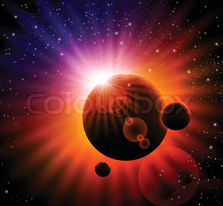 vector space background - sun rising over a planet