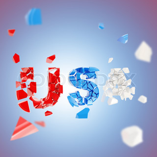 USA broken into pieces abstract background