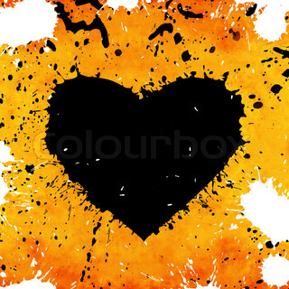 grunge background with abstract heart made from paint stains