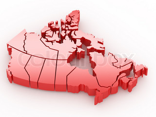 Three-dimensional map of Canada 3d