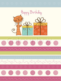 happy birthday card with cat and gift