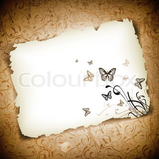 Butterflies with floral at burned paper over grunge background