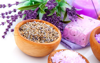 dry Lavender herbs and bath salt isolated on white background