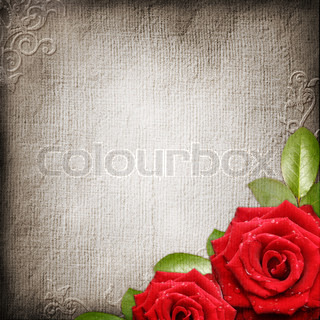 Old decorative background with red roses