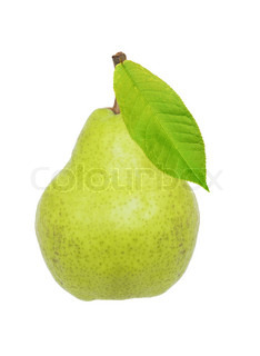Beautiful fresh ripe pear with green leaf isolated on white