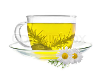 cup of green tea with chamomile flowers isolated on white