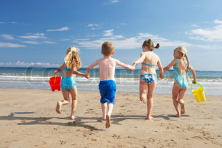 Children on beach vacation