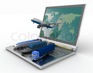 concept of logistics delivery and transporting by all types of transport