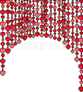 frame made of vertical heart rows on the white background