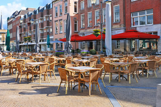 Street cafe on the square in Gorinchem Netherlands