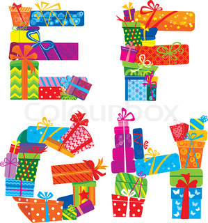 EFGH - english alphabet - letters are made of gift boxes and presents