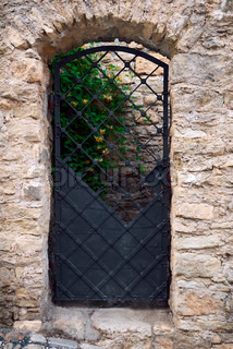 The old wrought-iron door in the wall, built of stone