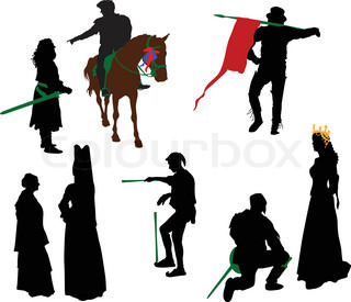 Silhouettes of people in medieval costumes. Knight,  queen, juggler, nobles.