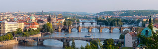 Sunrise over Prague Panorama of five bridges