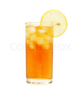 Glass of ice tea with lemon  isolated on  white