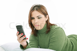 woman angry with technology isolated over a white background