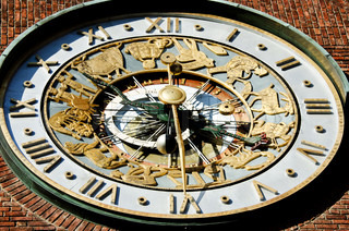 Astronomical clock on wall City Hall