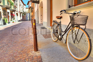 Bicycle on the street of Alba, Italy