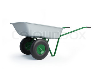 wheelbarrow on a white background