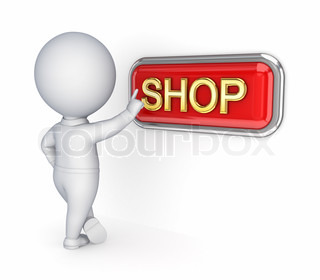 3d small person pushing SHOP button