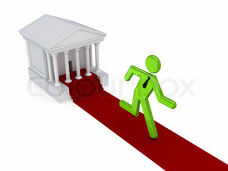 3d small person running from a courthouse